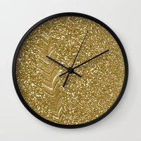 gold glitter Wall Clocks featuring GLITTER GOLD by isoncaDesign
