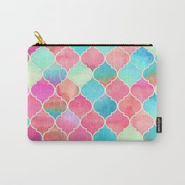 Watercolor Moroccan Patchwork in Magenta, Peach & Aqua Carry-All Pouch