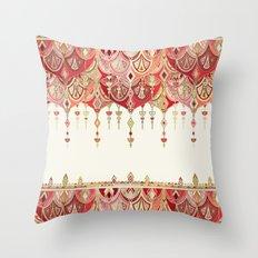 Royal Red Art Deco Double Drop Throw Pillow