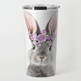 Bunny With Flower Crown Travel Mug