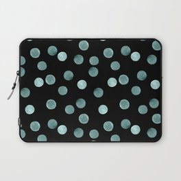 Blue polka dots on a black background . Watercolor pattern . Laptop Sleeve