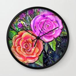 painting roses makes me EUPHORIC! Wall Clock
