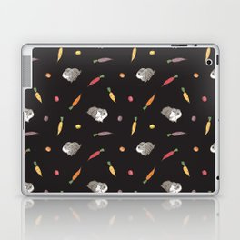 Carrot and Silkie Guinea Pig Pattern in Black Background Laptop & iPad Skin