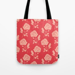 Romantic Pink on Red Roses Tote Bag