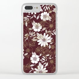 Elegant burgundy white faux gold modern flowers Clear iPhone Case
