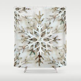 Glistening Christmas Snowflakes Shower Curtain