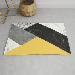 Black and White Marbles and Pantone Primrose Yellow Color Rug