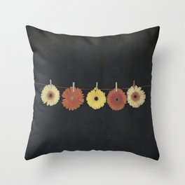 five gerbera Throw Pillow