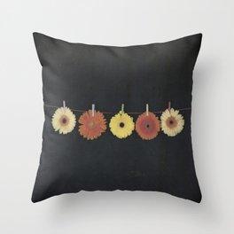 five gerbera Throw Pillow