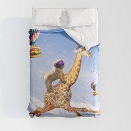 Cute Dog Giraffe - Dog Riding Flying Giraffe Comforters
