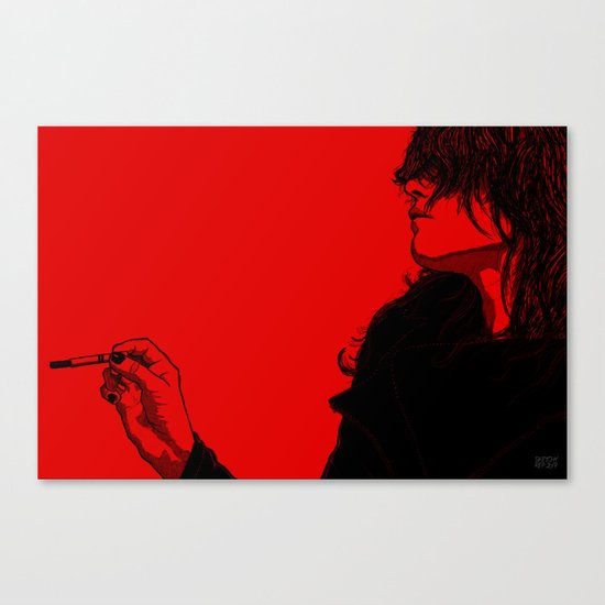 Smoking (Black on Red Variant) Canvas Print