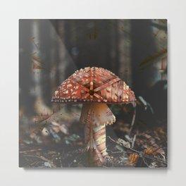 Ultra Trippy Mushroom Retro Vintage Print Metal Print