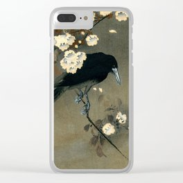 Vintage Japanese Crow and Blossom Woodblock Print Clear iPhone Case