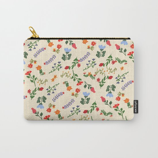 Bright Vintage Flower Pattern Carry-All Pouch