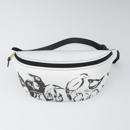 Birds white and black drawing illustration Fanny Pack