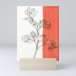 parsley branch nature watercolor orange Mini Art Print