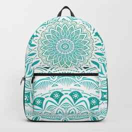 White Mandala on Blue Green Distressed Background with Detail and Textured Backpack