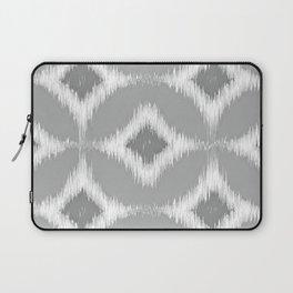 Elegant White Gray Retro Circles Squares Ikat Pattern Laptop Sleeve