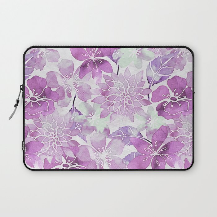 Soft Pink Pastel Watercolor Flower Pattern Laptop Sleeve By