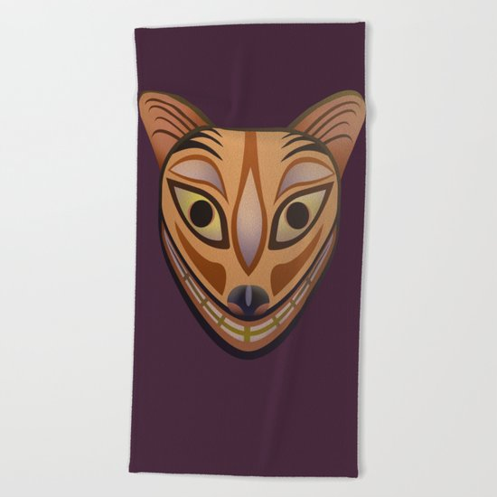 Feline tribal mask Beach Towel