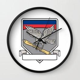 Shrike Clutching Propeller Blade Shield Retro Wall Clock