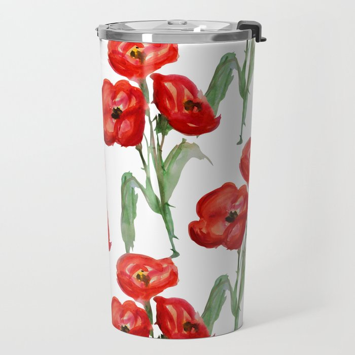 Watercolor Red Poppies Travel Mug
