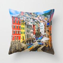 Colorful Riomaggiore Cinque Terre Italy Throw Pillow