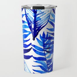 Jungle Leaves & Ferns in Blue Travel Mug