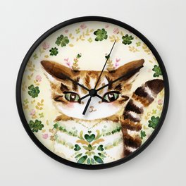 Poe: Heart of my Heart, St. Paddy's Day Cat, lucky charm Wall Clock