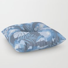 Tropical Leaves and Flowers Floor Pillow