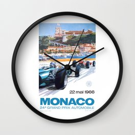 1966 MONACO Grand Prix Racing Poster Wall Clock