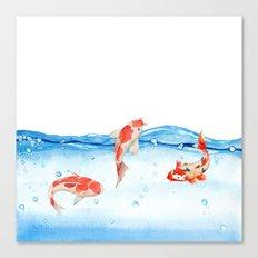 Happy koi fish- fishes sea water lake Canvas Print