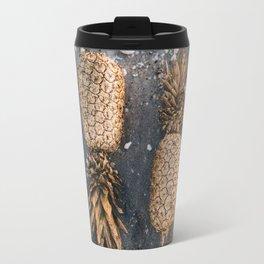 Gold Pineapple Print Travel Mug