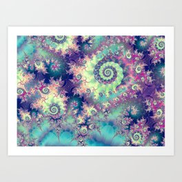 Violet Teal Sea Shells, Abstract Underwater Forest  Art Print
