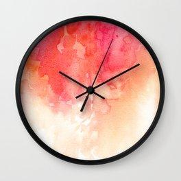 Watercolor red Coral decor Modern illustration abstract Peachy print Pink art Wall Clock