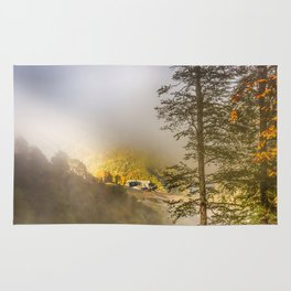Mountains in the mist Rug