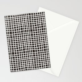 chocolate brown random cross hatch lines checker pattern Stationery Cards