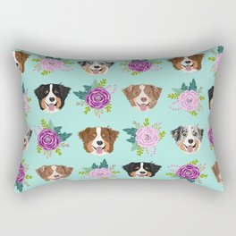 Australian Shepherd dog breed dog faces cute floral dog pattern Rectangular Pillow