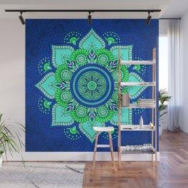 Blue Flower Mandala Wall Mural