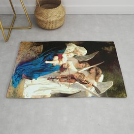 Madonna with Infant Jesus and Angels Virgin Mary Art Rug