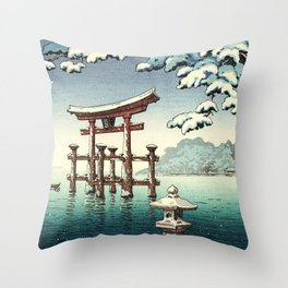 Tsuchiya Koitsu - Snowy Miyajima - Japanese Vintage Woodblock Painting Throw Pillow