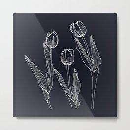 Negative Tulips Metal Print
