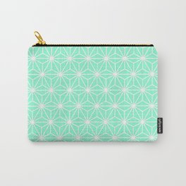 Aqua Geometric Flowers and Florals Isosceles Triangle Carry-All Pouch