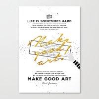 neil gaiman Canvas Prints featuring Make Good Art - Neil Gaiman by thatfandomshop