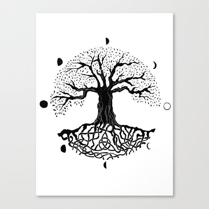black and white tree of life with moon phases and celtic trinity knot II Canvas Print