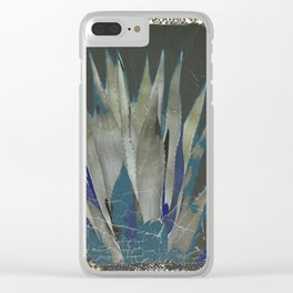 GRUBBY GREY ANTIQUE AGAVE CACTUS PIC Clear iPhone Case