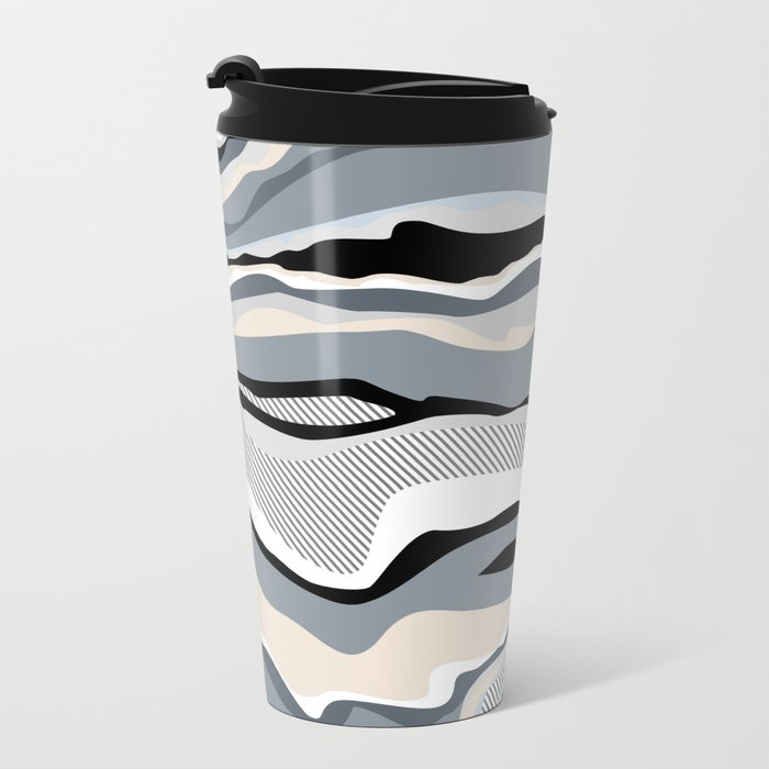 Black and white scandinavian minimal line pattern Metal Travel Mug