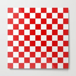Checker Texture (Red & White) Metal Print