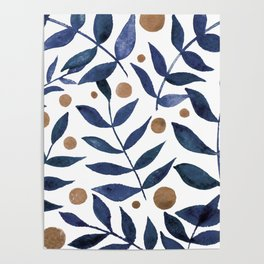 Watercolor berries and branches - indigo and beige Poster