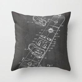 Snowboard Patent - Snowboaring Art - Black Chalkboard Throw Pillow